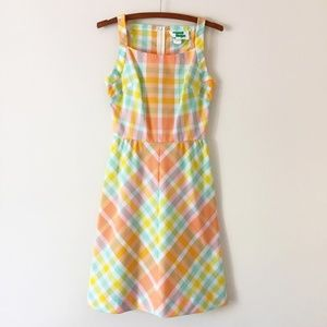 Vtg 60s Mod Plaid Dress - SM